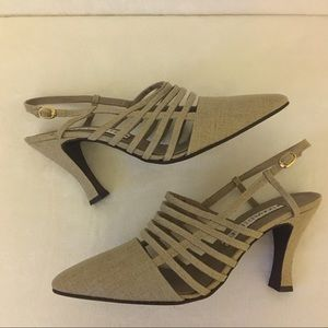 Donald J Pliner Fabric Sling Back Heels